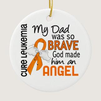 Angel 2 Dad Leukemia Ceramic Ornament