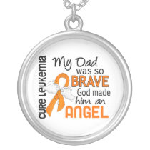 Angel 2 Dad Leukemia Silver Plated Necklace