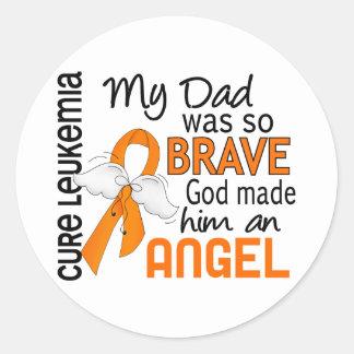 Angel 2 Dad Leukemia Round Sticker