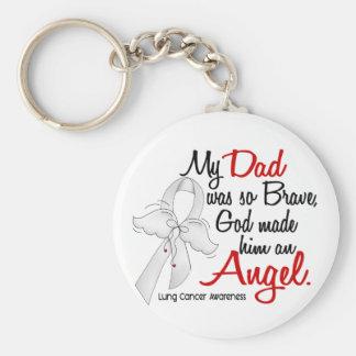 Angel 2 Dad Lung Cancer Basic Round Button Keychain