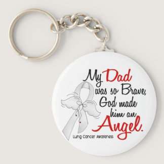 Angel 2 Dad Lung Cancer Keychain