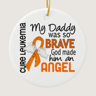 Angel 2 Daddy Leukemia Ceramic Ornament