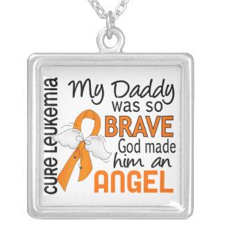 Angel 2 Daddy Leukemia Square Pendant Necklace