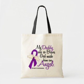Angel 2 Daddy Pancreatic Cancer Tote Bags