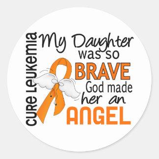 Angel 2 Daughter Leukemia Classic Round Sticker