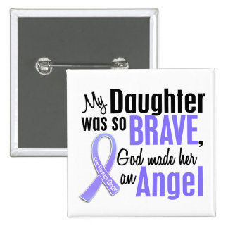 Angel 2 Daughter Stomach Cancer 2 Inch Square Button