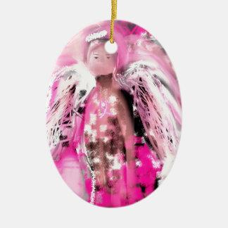 Ángel #2 de la conciencia del cáncer de pecho adorno navideño ovalado de cerámica