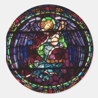Ángel 2 del navidad pegatina redonda