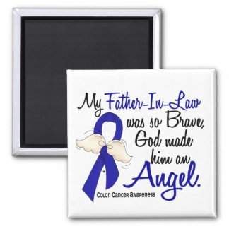 Angel 2 Father-In-Law Colon Cancer 2 Inch Square Magnet