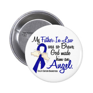 Angel 2 Father-In-Law Colon Cancer Pinback Button