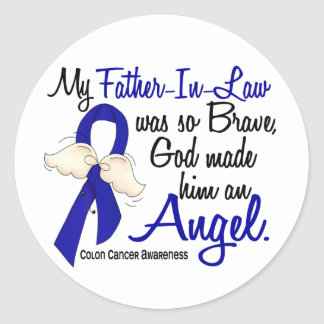 Angel 2 Father-In-Law Colon Cancer Classic Round Sticker