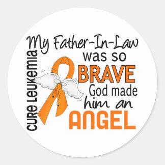 Angel 2 Father-In-Law Leukemia Classic Round Sticker