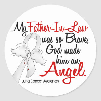 Angel 2 Father-In-Law Lung Cancer Classic Round Sticker