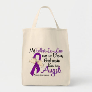 Angel 2 Father-In-Law Pancreatic Cancer Tote Bags