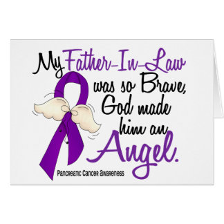 Angel 2 Father-In-Law Pancreatic Cancer Greeting Cards