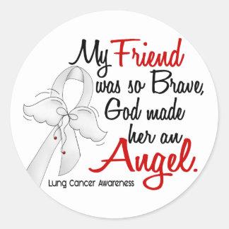 Angel 2 Friend Lung Cancer Classic Round Sticker