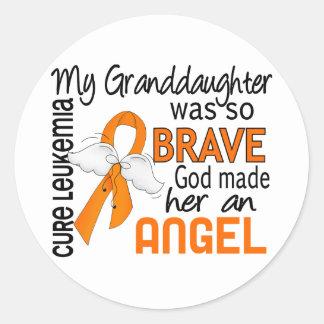 Angel 2 Granddaughter Leukemia Classic Round Sticker