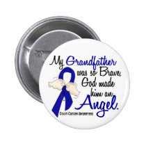 Angel 2 Grandfather Colon Cancer Pinback Button