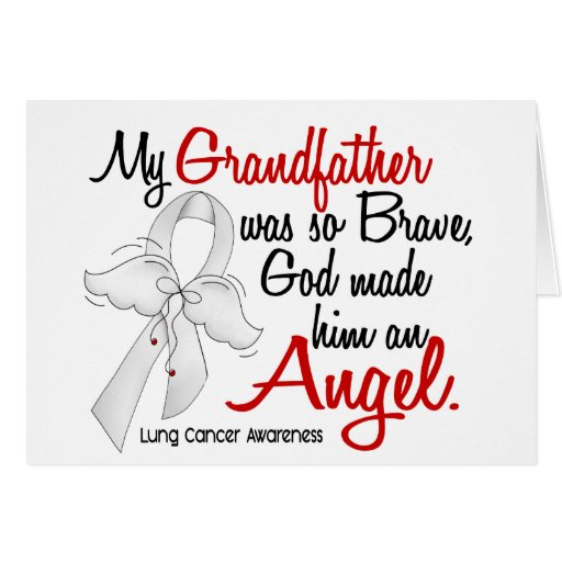 Angel 2 Grandfather Lung Cancer Greeting Cards