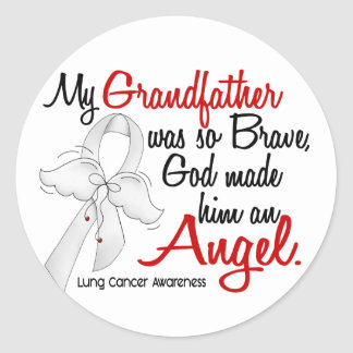 Angel 2 Grandfather Lung Cancer Round Stickers