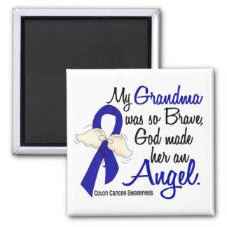 Angel 2 Grandma Colon Cancer 2 Inch Square Magnet