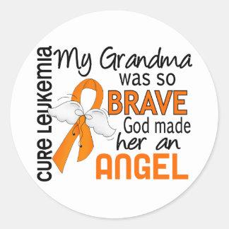 Angel 2 Grandma Leukemia Classic Round Sticker