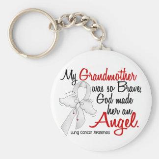 Angel 2 Grandmother Lung Cancer Basic Round Button Keychain