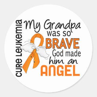 Angel 2 Grandpa Leukemia Classic Round Sticker