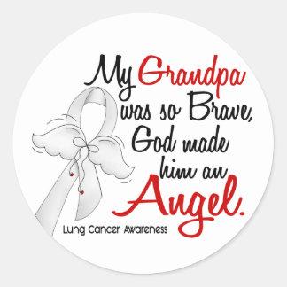 Angel 2 Grandpa Lung Cancer Classic Round Sticker
