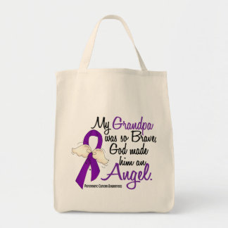 Angel 2 Grandpa Pancreatic Cancer Canvas Bags