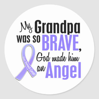 Angel 2 Grandpa Stomach Cancer Classic Round Sticker