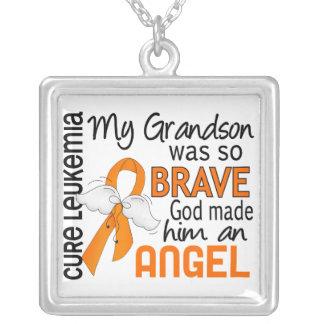 Angel 2 Grandson Leukemia Square Pendant Necklace