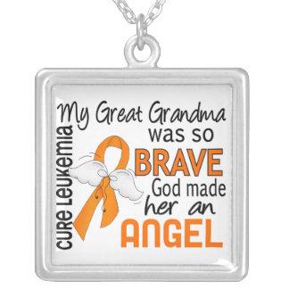 Angel 2 Great Grandma Leukemia Square Pendant Necklace