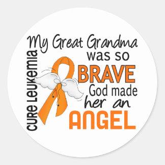 Angel 2 Great Grandma Leukemia Classic Round Sticker