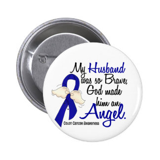 Angel 2 Husband Colon Cancer 2 Inch Round Button