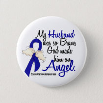 Angel 2 Husband Colon Cancer Button