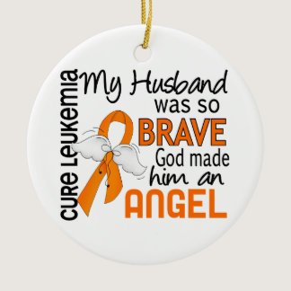 Angel 2 Husband Leukemia Ceramic Ornament