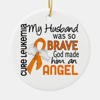 Angel 2 Husband Leukemia Christmas Ornaments