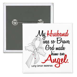 Angel 2 Husband Lung Cancer 2 Inch Square Button
