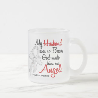 Angel 2 Husband Lung Cancer Frosted Glass Coffee Mug