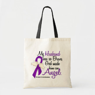 Angel 2 Husband Pancreatic Cancer Budget Tote Bag