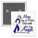 Angel 2 Mom Colon Cancer 2 Inch Square Button
