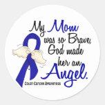 Angel 2 Mom Colon Cancer Classic Round Sticker
