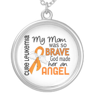 Angel 2 Mom Leukemia Round Pendant Necklace