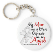 Angel 2 Mom Lung Cancer Keychain