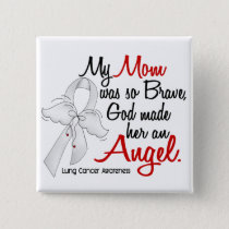 Angel 2 Mom Lung Cancer Pinback Button