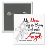 Angel 2 Mom Lung Cancer Pinback Buttons