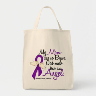 Angel 2 Mom Pancreatic Cancer Grocery Tote Bag