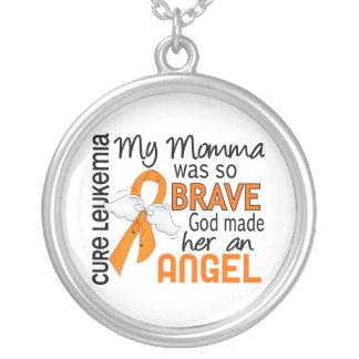Angel 2 Momma Leukemia Round Pendant Necklace