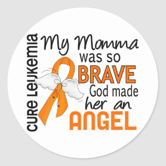 Angel 2 Momma Leukemia Classic Round Sticker